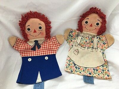 Vintage Knickerbocker Raggedy Ann & Andy Cloth HAND PUPPETS Doll Faces TOO CUTE!
