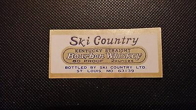 Vintage Small Ski Country Bourbon Whiskey Liquor Decanter Label Free Shipping