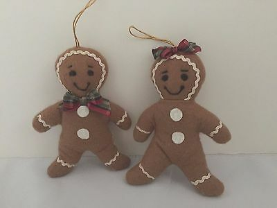 Gingerbread Man and Woman Cloth Christmas Ornaments