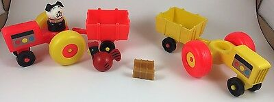 Vintage Fisher Price Little People Farm Fun Tractors, Dog, Rooster, Bale of Hay