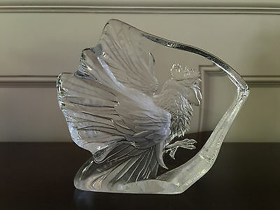 Mats Jonasson Rooster Crystal Art Glass Signed Made in Sweden #33709