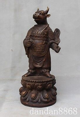 Old Chinese fengshui bronze stand lotus Ox bull oxen cattle beast people statue