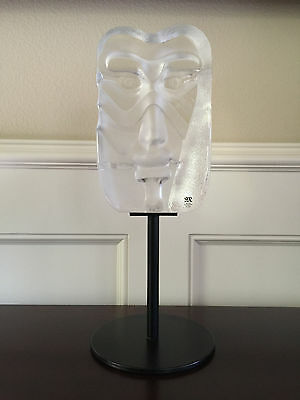 Mats Jonasson Face Mask Swedish Clear Crystal Mounted on Metal Stand #65010