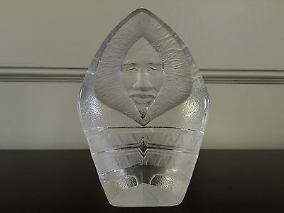 Mats Jonasson Eskimo Native Man Swedish Crystal Art Glass Signed Made in Sweden