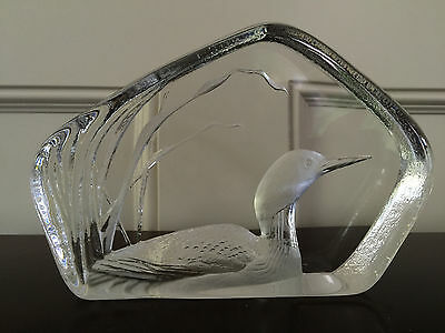 Mats Jonasson Loon Swedish Clear Crystal Art Glass Signed Made in Sweden #33313