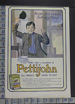 1906 Pettijohn Breakfast Child Beach Food Kitchen Cook Play Vintage Ad  Dh72