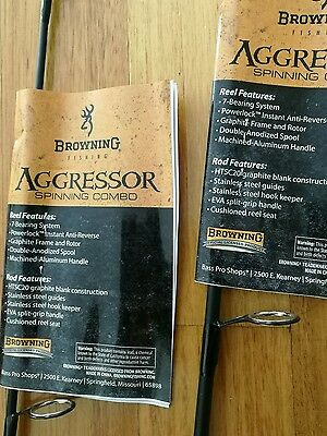 """BROWNING AGGRESSOR SPIN GRAPHITE FISHING ROD 5'6""""' 2-8LB $25 secondrod freeship!"""
