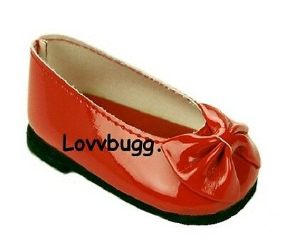 Red Patent Dress Bow Flats for American Girl 18 inch Doll Shoes TRUE US SELLER!