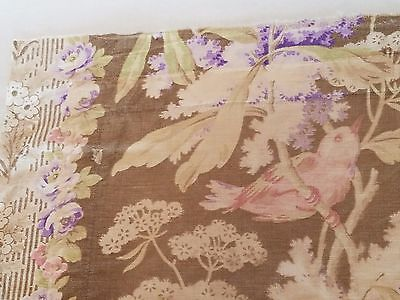 Antique French Toile Fabric Cotton Birds Floral Pink Birds Lilac Flowers 19th C