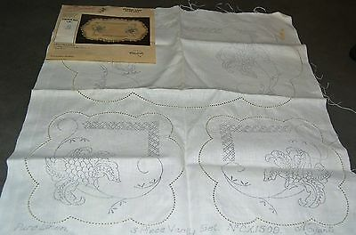 Vintage Myart Embroidery.  Pure Linen 3 piece Vanity Set Embroidery Made in Aust