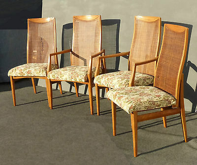 Set Four Vtg Danish Mid Century Style Cane Back Dining Room CHAIRS Drexel Style