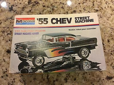 Monogram 1955 Chevy Street Machine 1/24 scale model kit Parts Pro Built Started