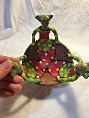 African Handmade Hand painted Pottery Bowl, Glossy Finish, Green, Red, Yellow