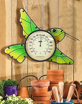 AITING Metal Thermometer Wall Hanging with Glass Panel,Hummingbird