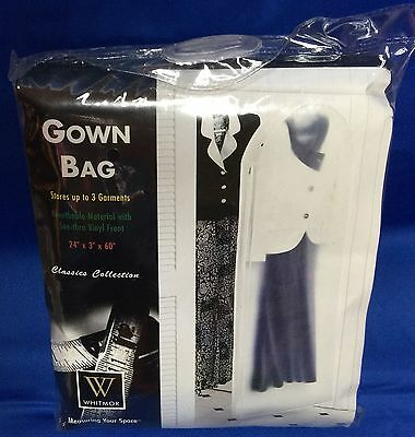 "White Breathable Gown Bag 24""x3""x60"" long Stores Up To 3 Garments - NEW Sealed"