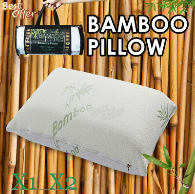 2x Bamboo Pillow Memory Foam Firm Fabric Fibre Cover Contour 70 x 40cm