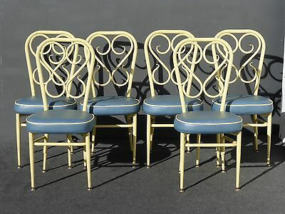 Set of 6 Mid Century1950's Yellow & Blue Metal Dining CHAIRS French Country