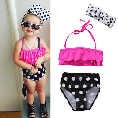 3Pcs Toddler Kids Baby Girls Swimsuit Swimwear Bathing Suit Tankini Bikini Set