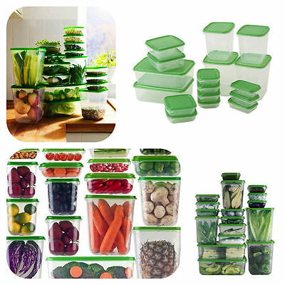 IKEA 17 Pcs Food Storage Plastic Container Green Containers Microwave Safe Pruta