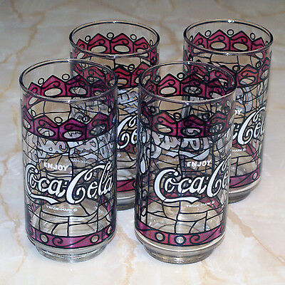 Set of 4 Coca-Cola Stained Glass Tumblers