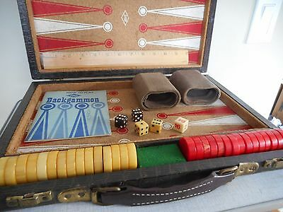 Vintage Lowe Backgammon bakelite swirled chips in red and cream/butterscotch