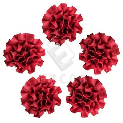 5pcs Satin Ribbon Flower Carnation 50mm Craft Wedding Appliques Favor Red CA