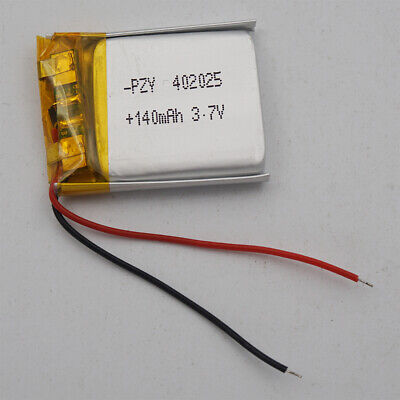 3.7V 140mAh Polymer Li Battery For GPS Mp4 bluetooth Headset pen Glasses 402025