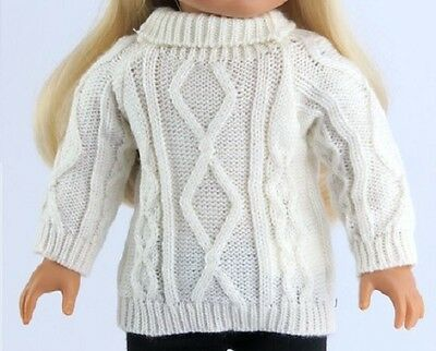 """Irish White Cable Sweater for American Girl 18"""" Doll Clothes  TRULY US SELLER!"""