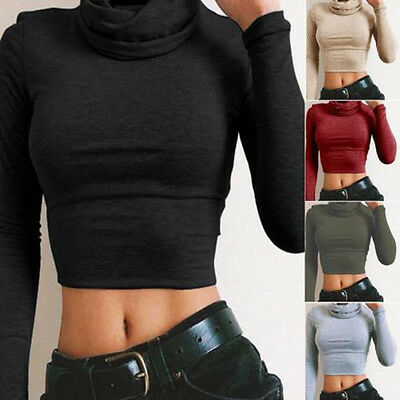 Hot Womens Turtle Neck Crop Ladies Long Sleeve Plain Polo Short Stretch Top P3