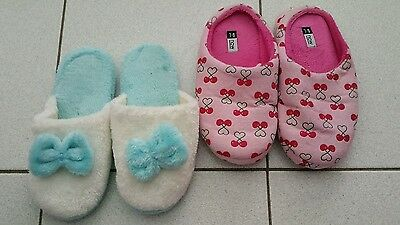2 pairs × Home Slippers - Size 7/8 - plush cotton - Indoor - Warm - blue