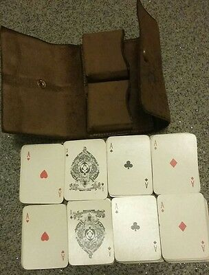 two mini goodall playing cards gold trim lether case vintage/antique