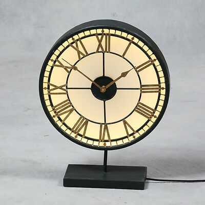 "Antiqued Black and Gold Back Lit Glass ""Westminster"" Clock on Stand 52cm High"