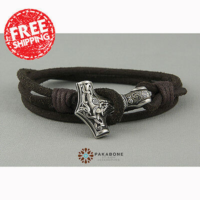 WRISTBAND MENS WOMENS LEATHER BRACELET with a THOR'S HAMMER MJOLLNIR