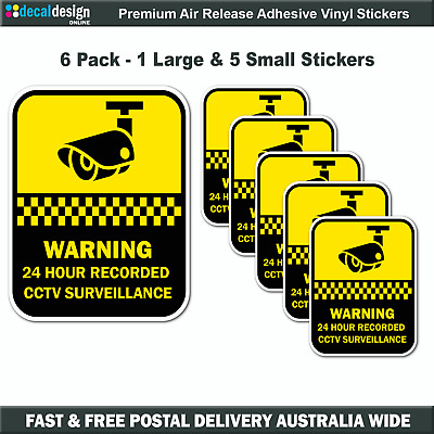 Security camera surveillance warning stickers home or office 6 PACK Decals #S509