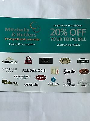 M&B Discount Voucher 20% Off For Up To 12 People ! Harvester , Toby Carvery Etc