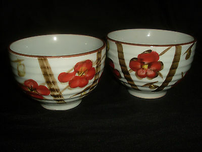 Pair Of Oriental Celadon Glaze Ribbed Bowls w/Hand Painted Cherry Decoration