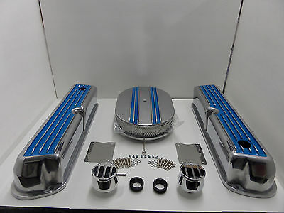 SBF Ford 289 302 351W Blue Finned  Aluminum Valve Covers Air Cleaner PVC Cap Kit