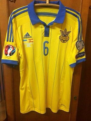 Ukraine National Team Shirt Matchworn Taras Stepanenko #6 Spain Ql Euro 2016