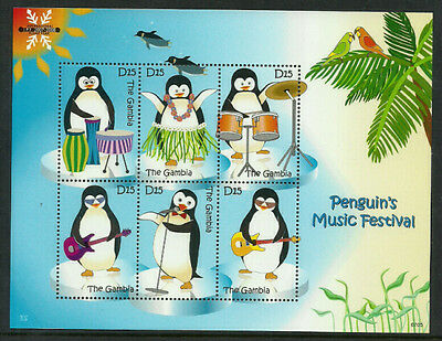 Gambia 3061 Mint Never Hinged S/Sheet - Penguins Music Festival