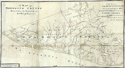 1781 Map of Monmouth County New Jersey