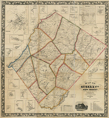 1860 Map of Sussex County New Jersey from actual surveys and records Newton
