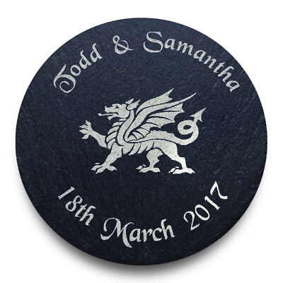 Personalised Welsh Dragon Slate Coasters Ideal Wedding Favours Anniversary Gift