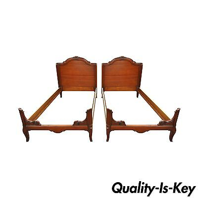 Pair of Vintage John Widdicomb French Country Cherry Wood Twin Sz Bed Frames