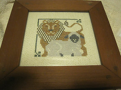 Finished/Completed WOOD FRAMED Cross Stitch-LION ANDTHE LAMB
