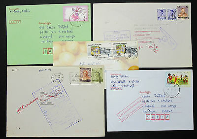 Thailand Set of 5 Covers Letters Envelopes Returned Stamps Briefe (H-8590