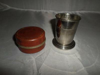 *Vintage/Antique Telescopic Travel Cup in Original Leather Fitted Pocket Case*