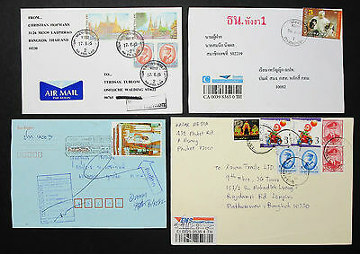 Thailand Airmail Set of 4 Covers Letters Envelopes Stamps Lupo Briefe (H-8599