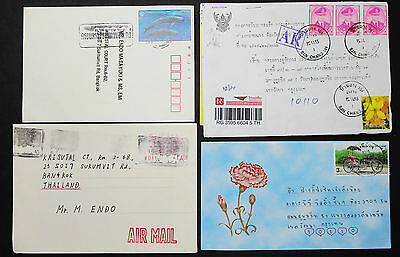 Thailand Set of 4 Covers Envelopes Illustrated Rose Airmail Lupo Briefe (H-8604