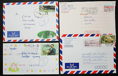 Thailand Set of 4 Airmail Covers Envelope Turtle Dinosaur Lupo Briefe (H-8605