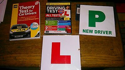 New AA Learner Driver Kit.Theory test book/DVD.2x Magnetic L 2x magnetic P plate